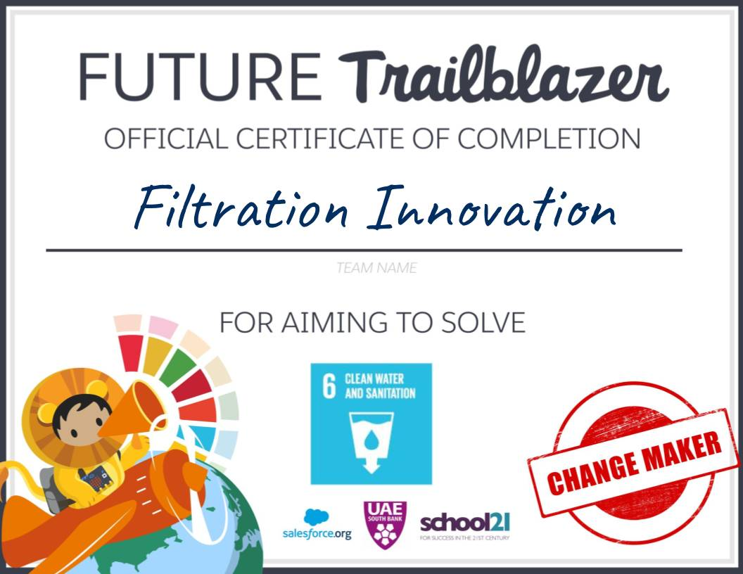 Filled-out version of the Future Trailblazer Official Certificate of Completion.