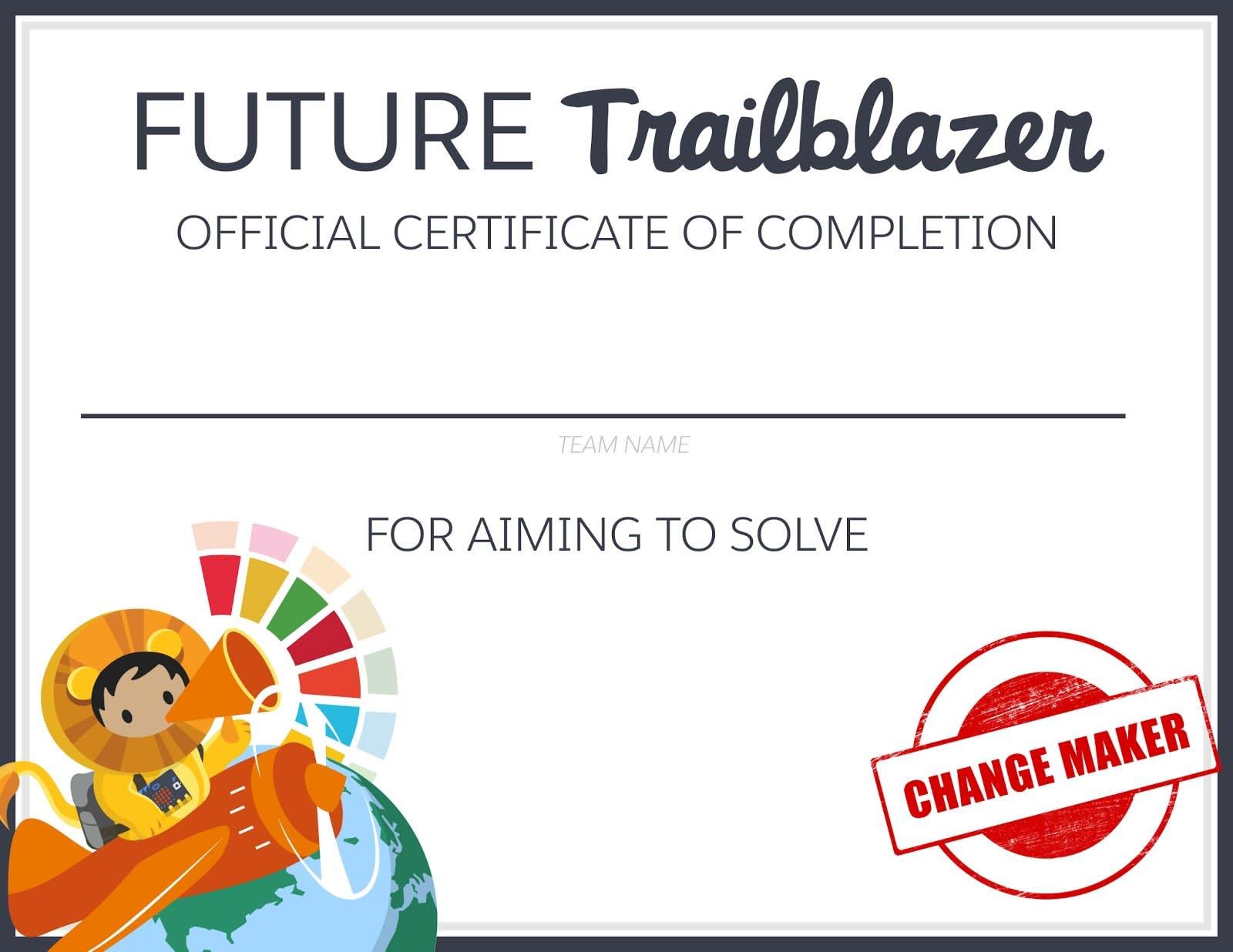 Versão em branco do Certificado de Conclusão Oficial de Future Trailblazer.