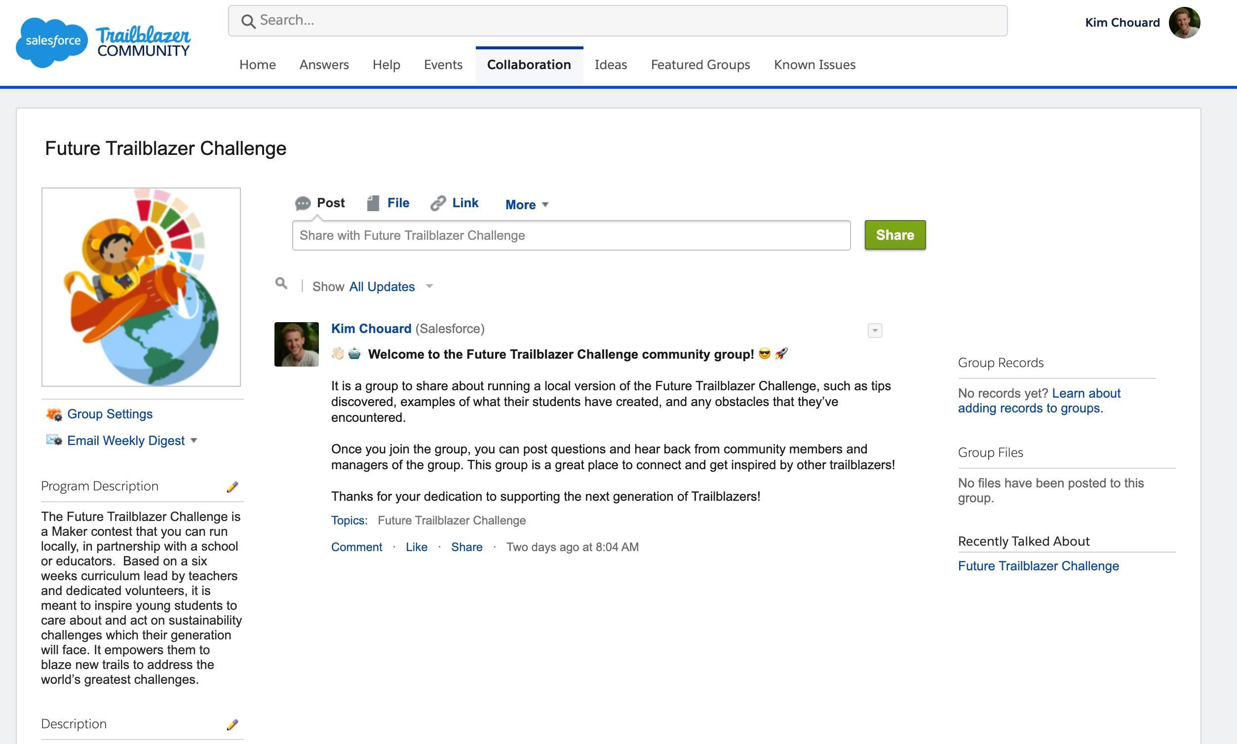 Screenshot der Future Trailblazer Challenge-Gruppe.