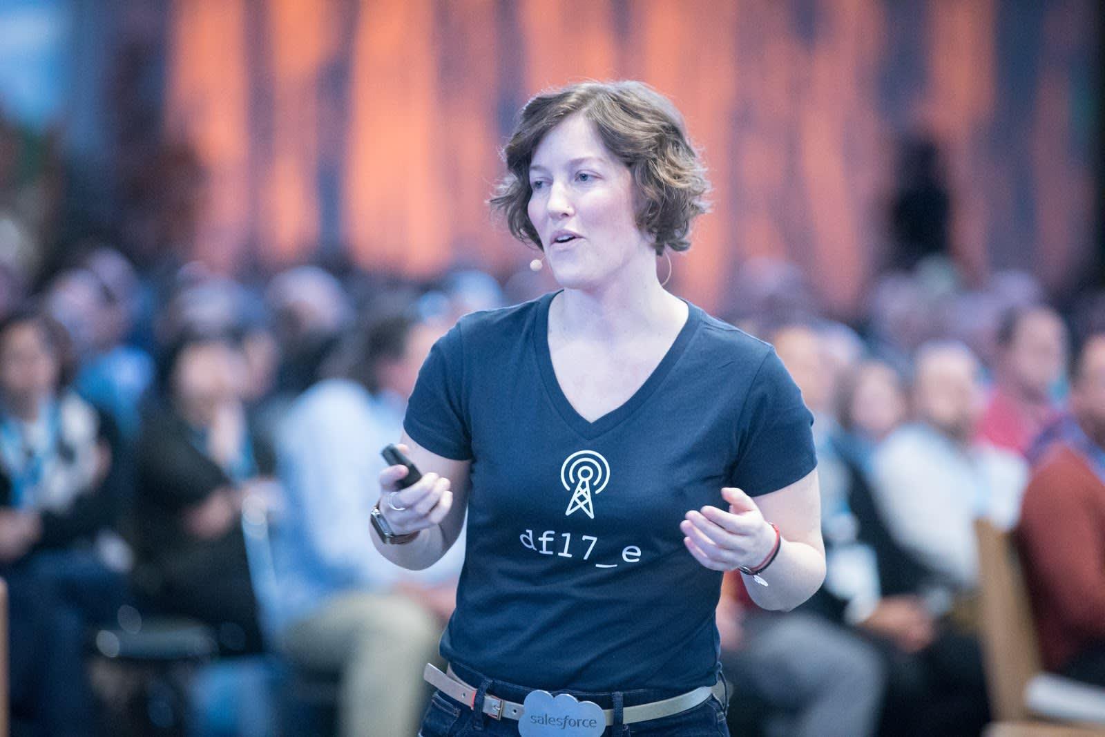 Zayne Turner presenting during the Developer keynote.