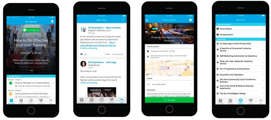Mobile device app screenshots: Coming up, how to do effective end-user training, social feed, session details and Discover.