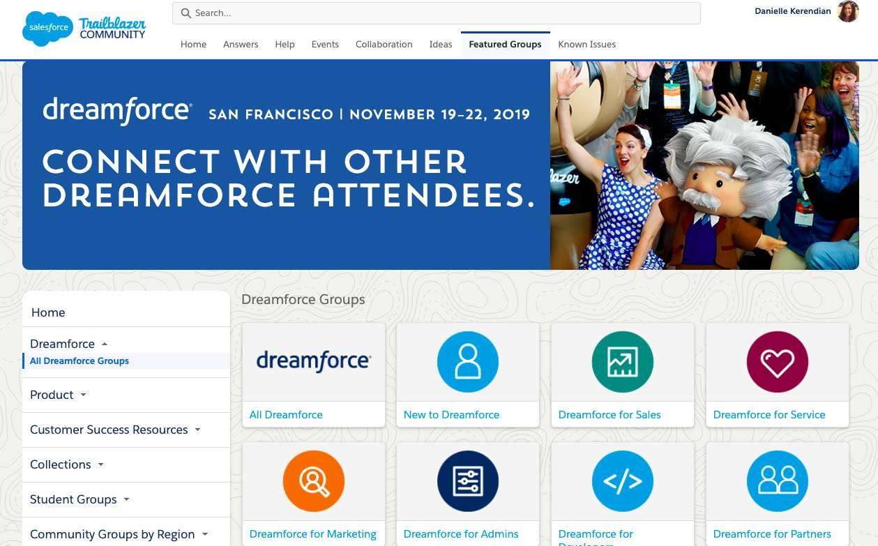 显示Dreamforce组的Trailblazer社区页面。