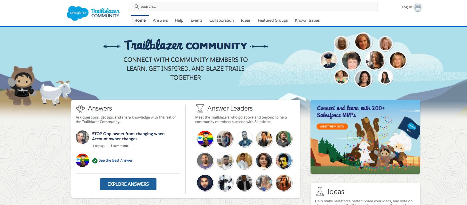 Screenshot of banner: Welcome to the community.