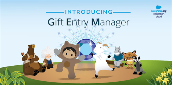 GEM diamond emblem surrounded by Salesforce characters with text reading Introducing Gift Entry Manager
