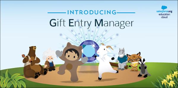 「Gift Entry Manager の紹介」と書かれた、Salesforce のキャラクターに囲まれたダイアモンドの GEM エンブレム