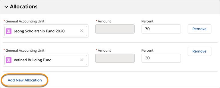 割り当てによって支援の割当先となる資金を追跡します。