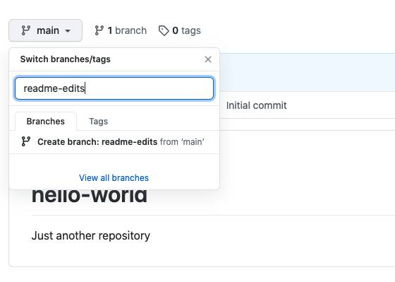 Branch dropdown selected and readme-edits entered into the Switch branches/tags field