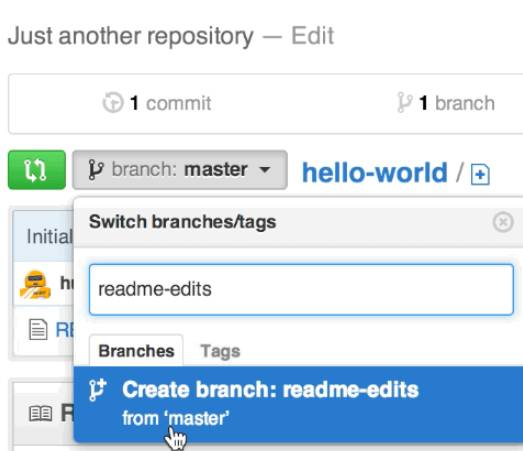 Screenshot showing switching between branches in a GitHub repository.