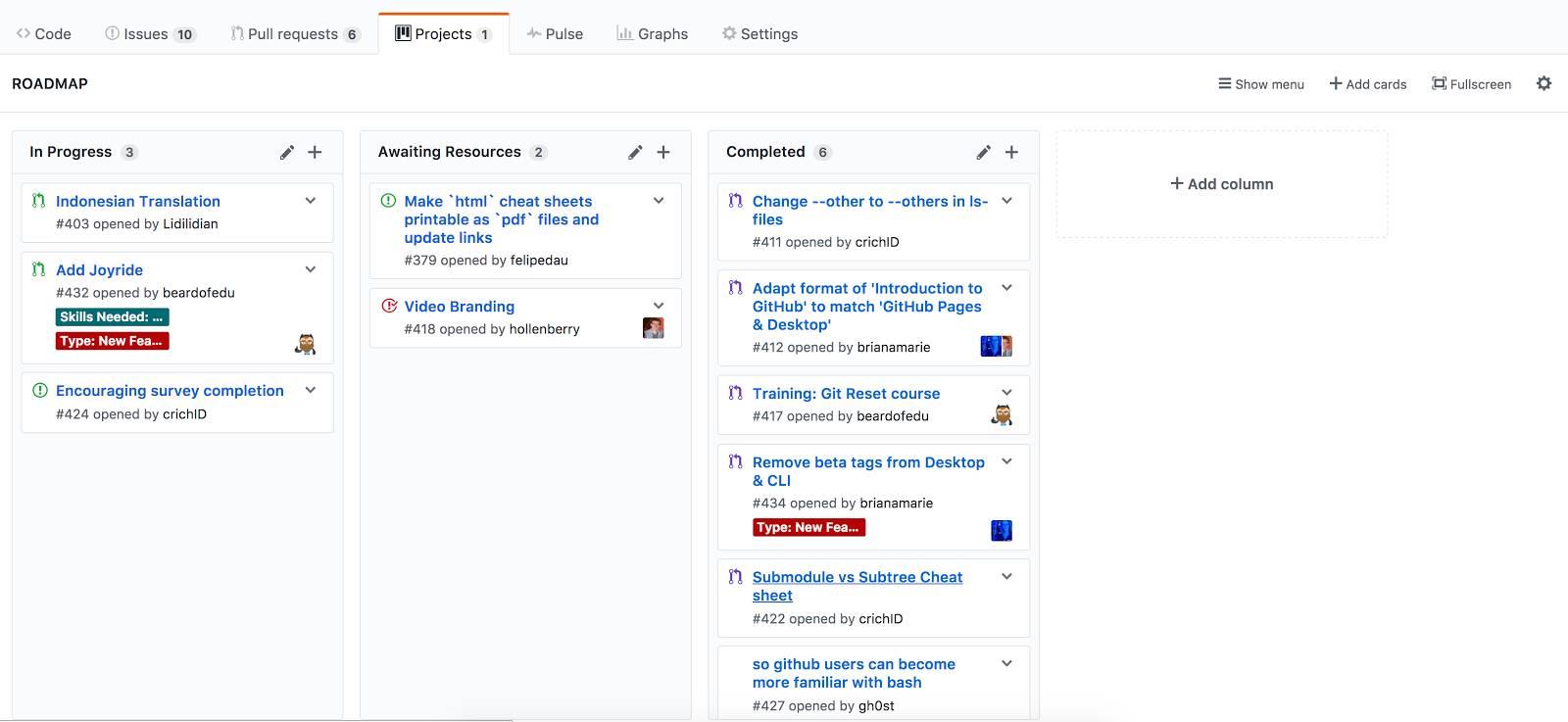 Screenshot of GitHub's Kanban style project boards.