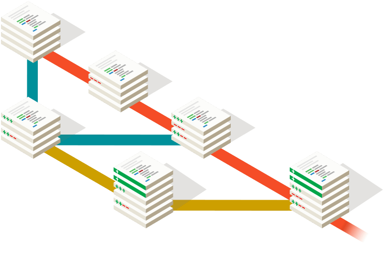 A diagram showing Git's distributed naturel.