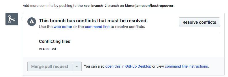 Screenshot showing merge conflict in GitHub.