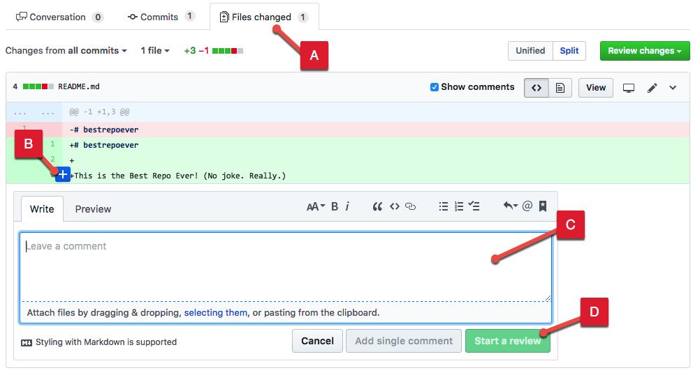 行コメントの追加方法を示すスクリーンショット。
