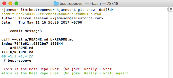 Screenshot showing the output of the `git show <SHA-1>`  command.