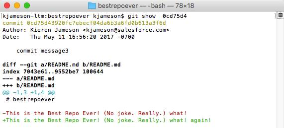 「git show <SHA-1>」コマンドの出力を示すスクリーンショット。