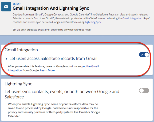 Set Up the Gmail Integration and Lightning Sync Unit
