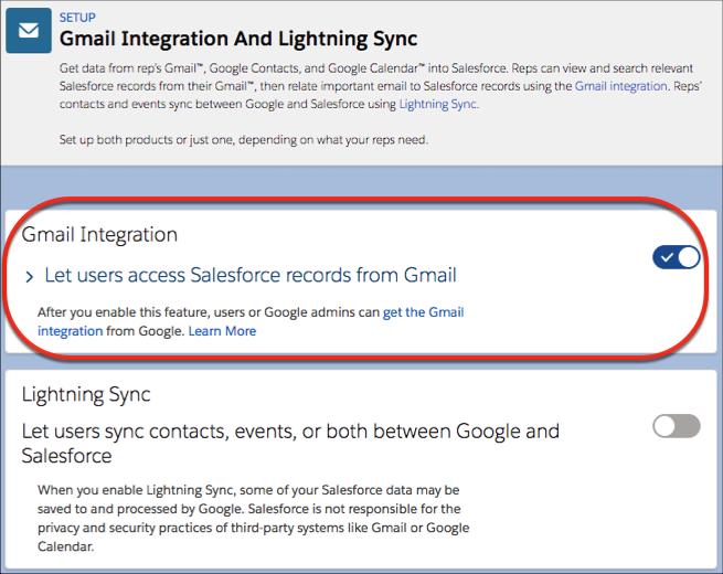 Configurações para habilitar a integração com o Gmail.