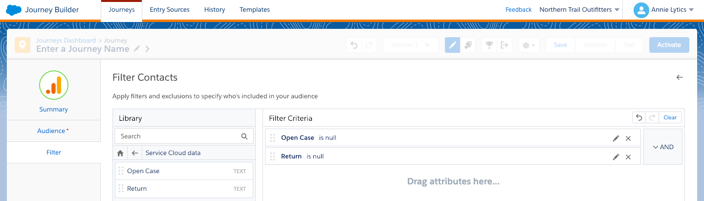 "Adding filters to the ""Recent Purchasers (No Review)"" audience using Marketing Cloud data"