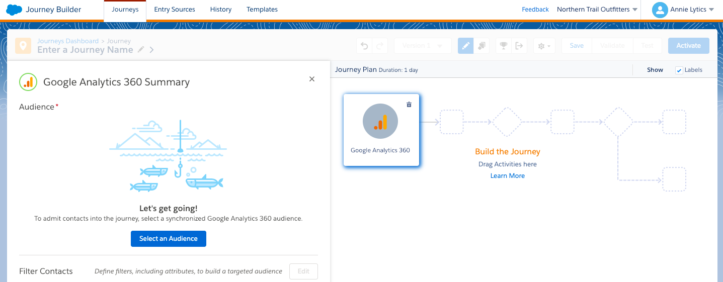 Configuring the Google Analytics 360 Entry Source in Journey Builder