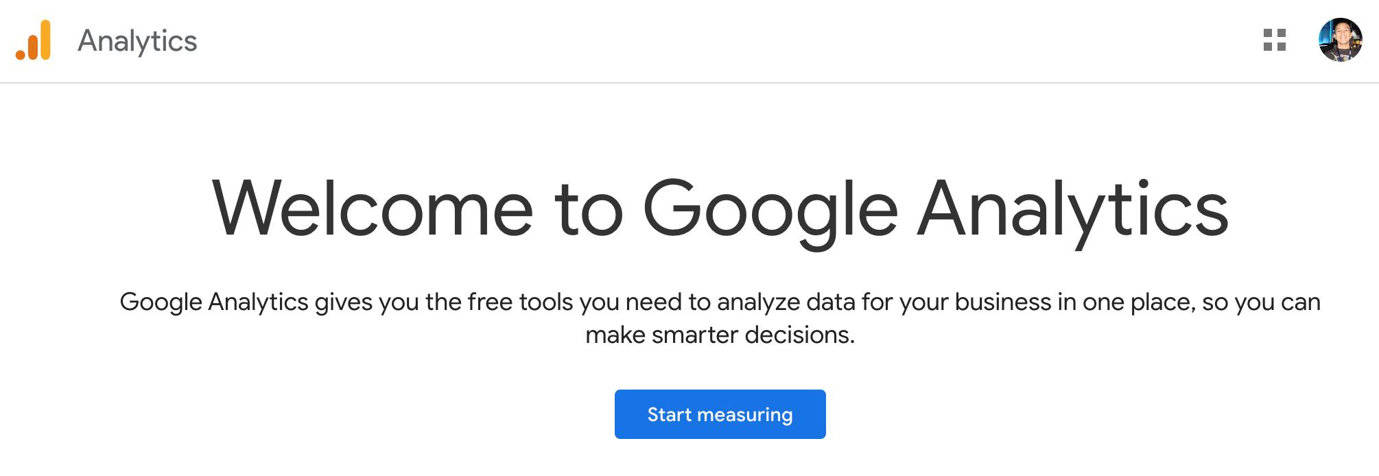 Banner that says Welcom to Google Analytics with the button that says Start measuring