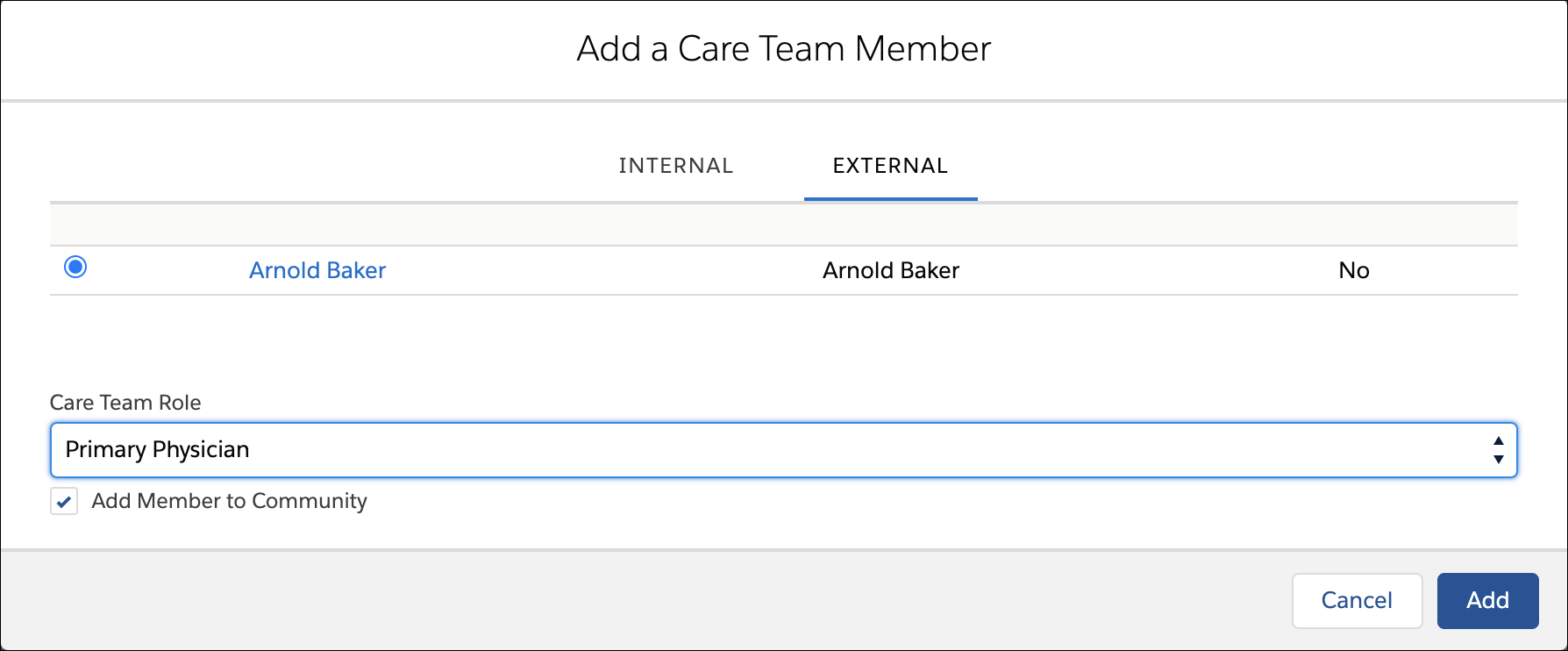 In the Add a Care Team Member screen, Arnold Baker is added to Elena's community as an external member with the Primary Physician role.