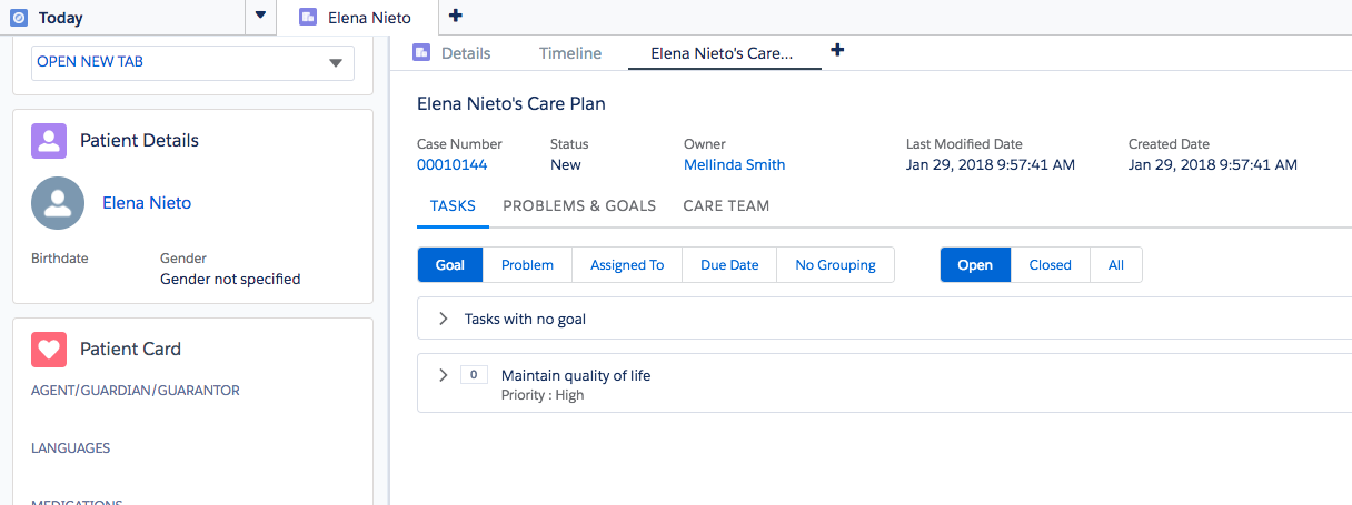 The Health Cloud Console brings together all the information April needs to coordinate       care for her patients.