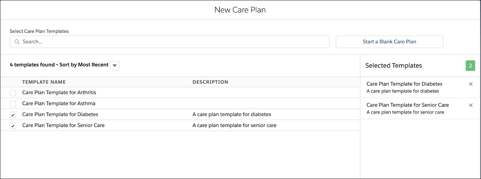 Image of New Care Plan tab with a list of template care plans.