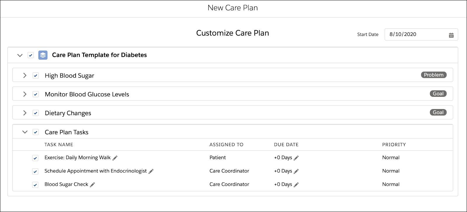 A care plan template for diabetes with problems, goals, and a list of tasks.