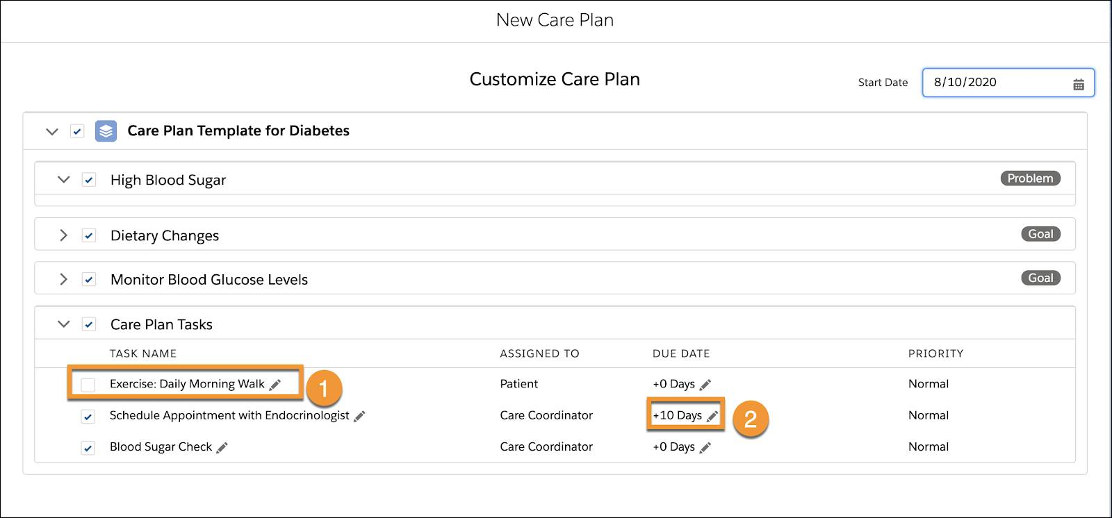 A care plan that has been customized by unselecting a task and adding a due date.