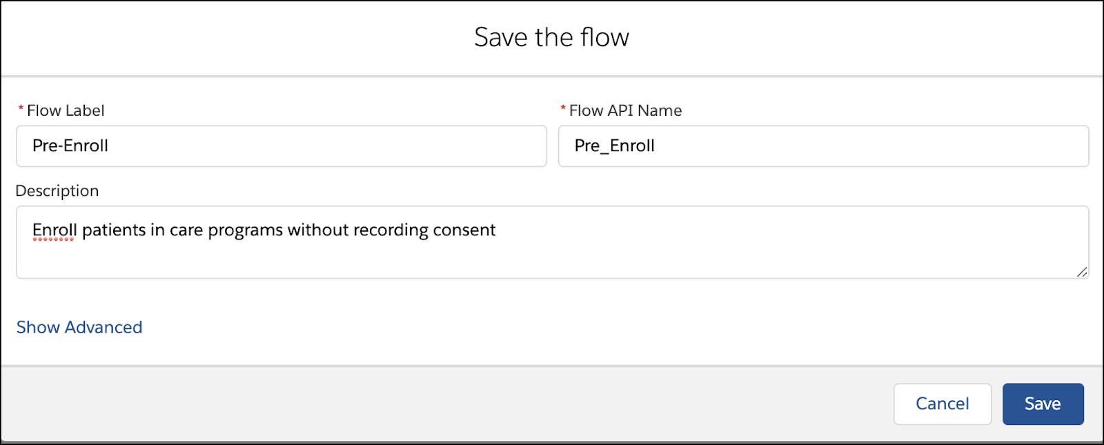 Saving the new flow corresponding to the preceding steps.