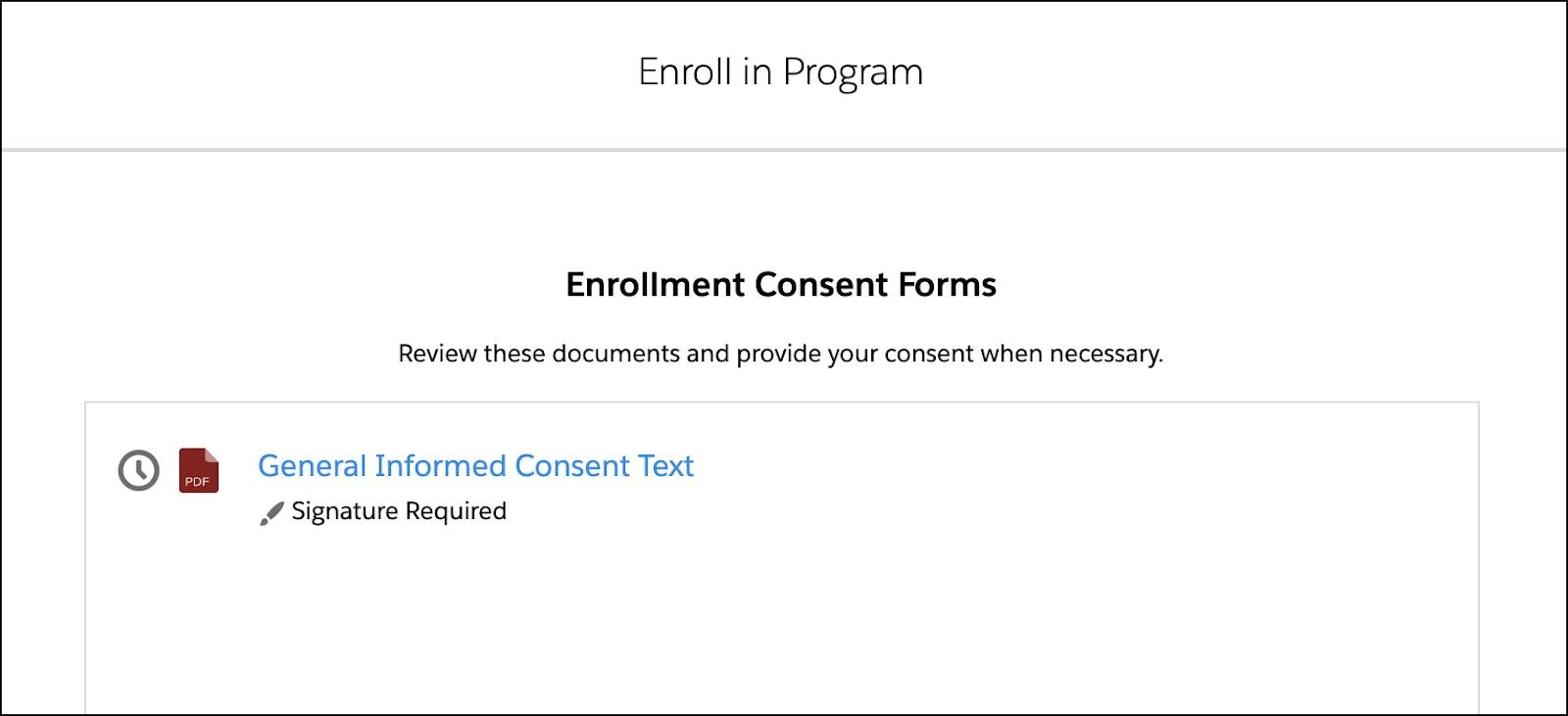 Enrollment consent forms corresponding to the preceding steps.