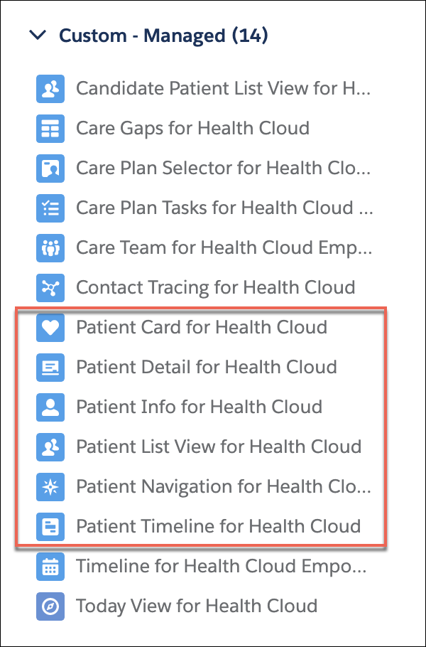 The list of components that are added when you install Health Cloud.