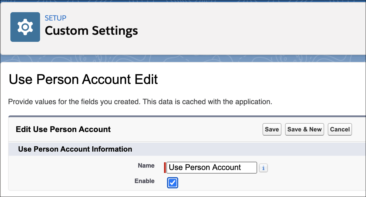 The Custom Settings page showing the option that you need to use to enable person accounts for your org.