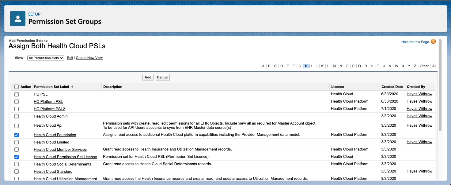 The Permission Set Groups page showing the two permission sets that each Health Cloud user must have assigned.