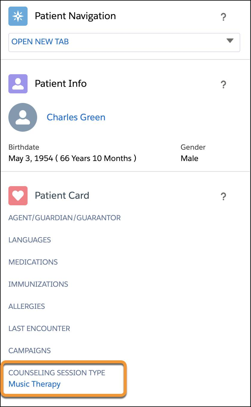 The patient card displays Counseling Session Type.
