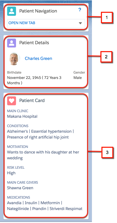 The Patient Navigation, Patient Details, and Patient Card sections of the card