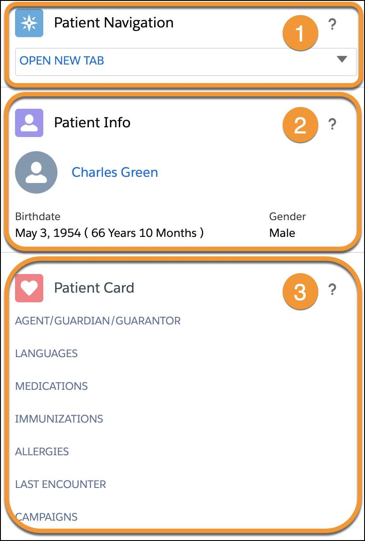 Patient Summary includes Patient Navigation, Patient Info, and Patient Card.