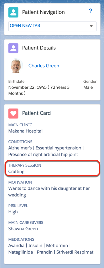 Therapy session details included in a patient card
