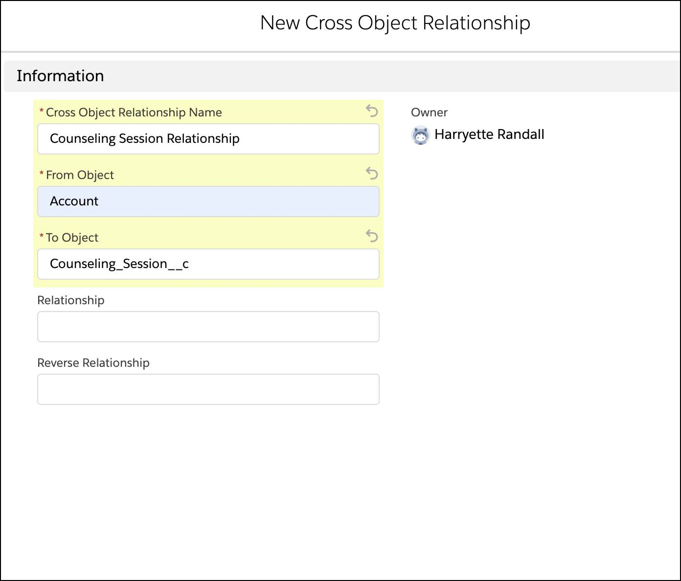 A new cross object relationship corresponding to the preceding steps.