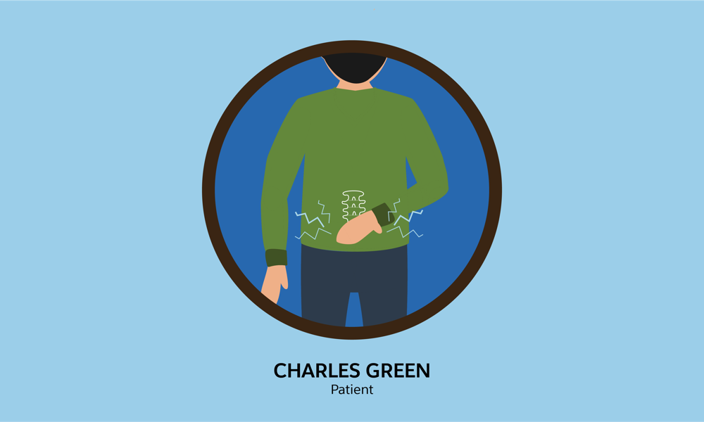 Charles Green, a patient who's been suffering from lower back pain