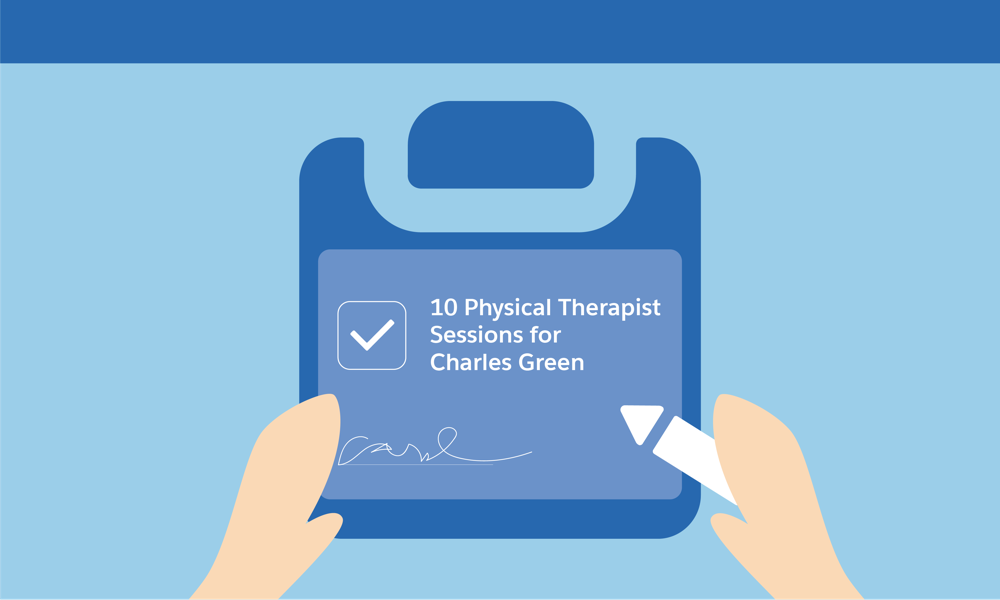 Carol is recommending 10 Physical Therapy sessions for Charles