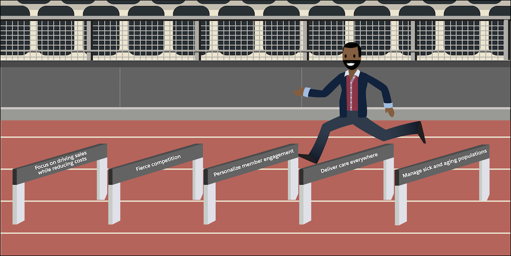 An image of a person in a hurdle race with each hurdle representing the five issues that payers face.