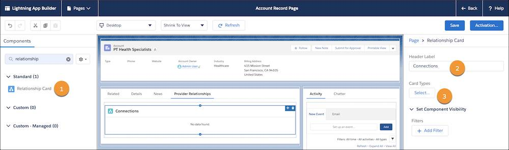 The Account Record Page showing the Relationship Card component, a sample custom header label, and the option you can click to select the card types.