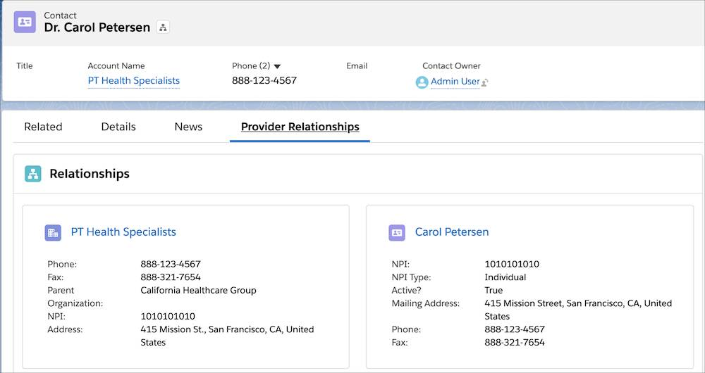 Image showing Carol Petersen's affiliations as found on the Provider Relationships tab.