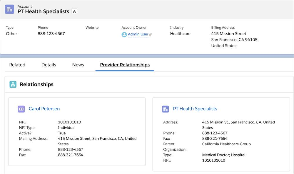 Image showing PT Health Specialists's affiliations as found on the Provider Relationships tab.