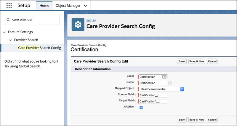 The Setup page showing the details of the Care Provider Search Config object.