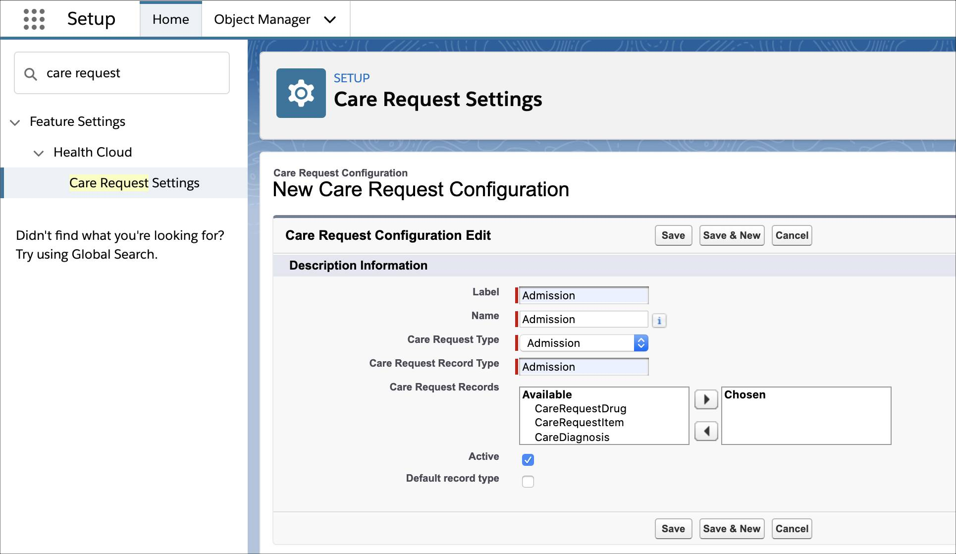 The Care Request Configuration page showing the fields you can use to add a care request configuration.
