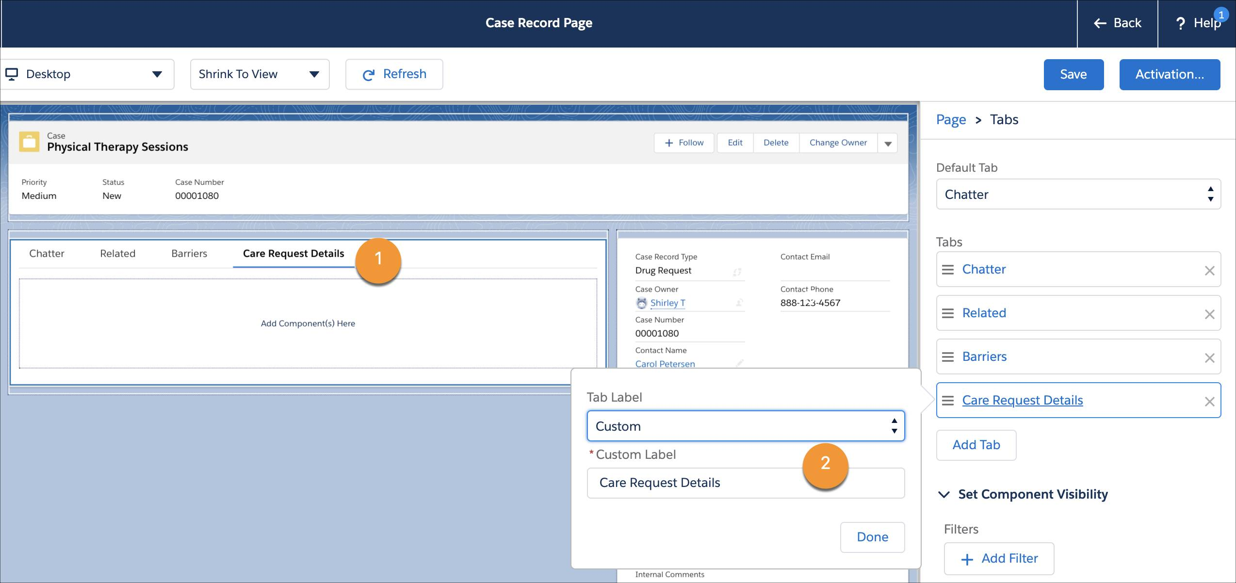 The Case Record Page showing the Care Request Details tab and a sample custom tab label.