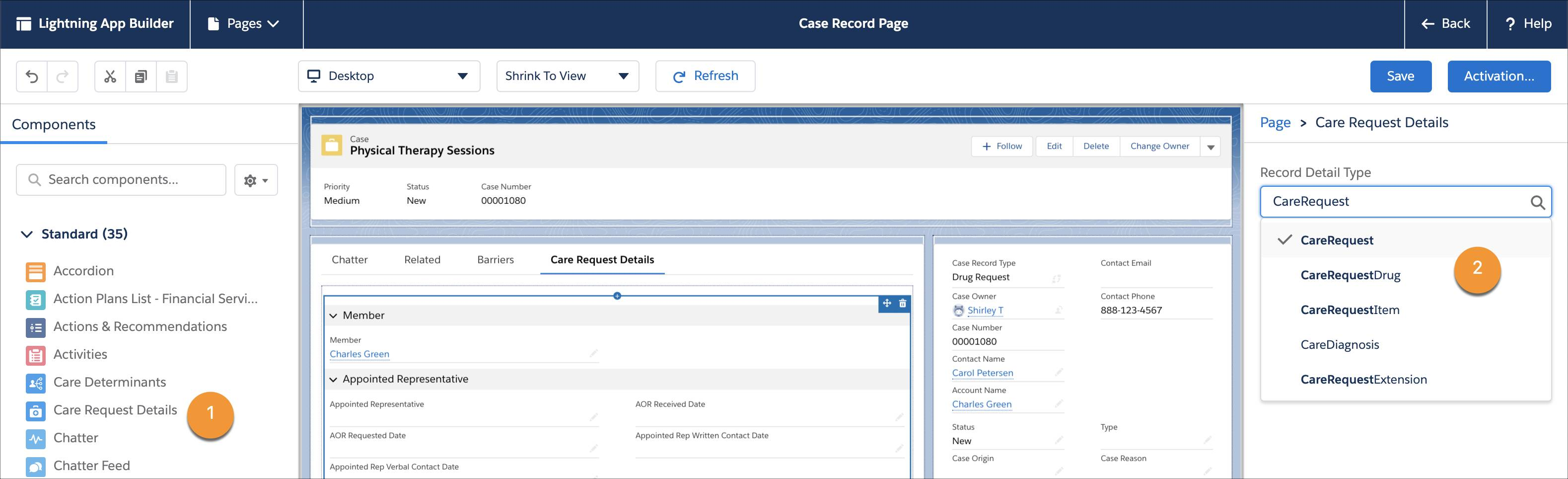 The Case Record Page showing the Case Request Details component and the option you can click to select the record detail type.