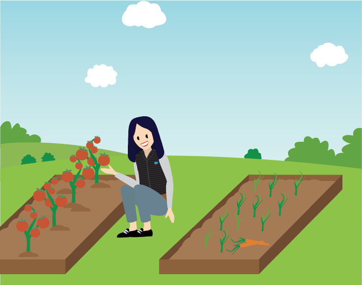 A person enjoying a vegetable garden.