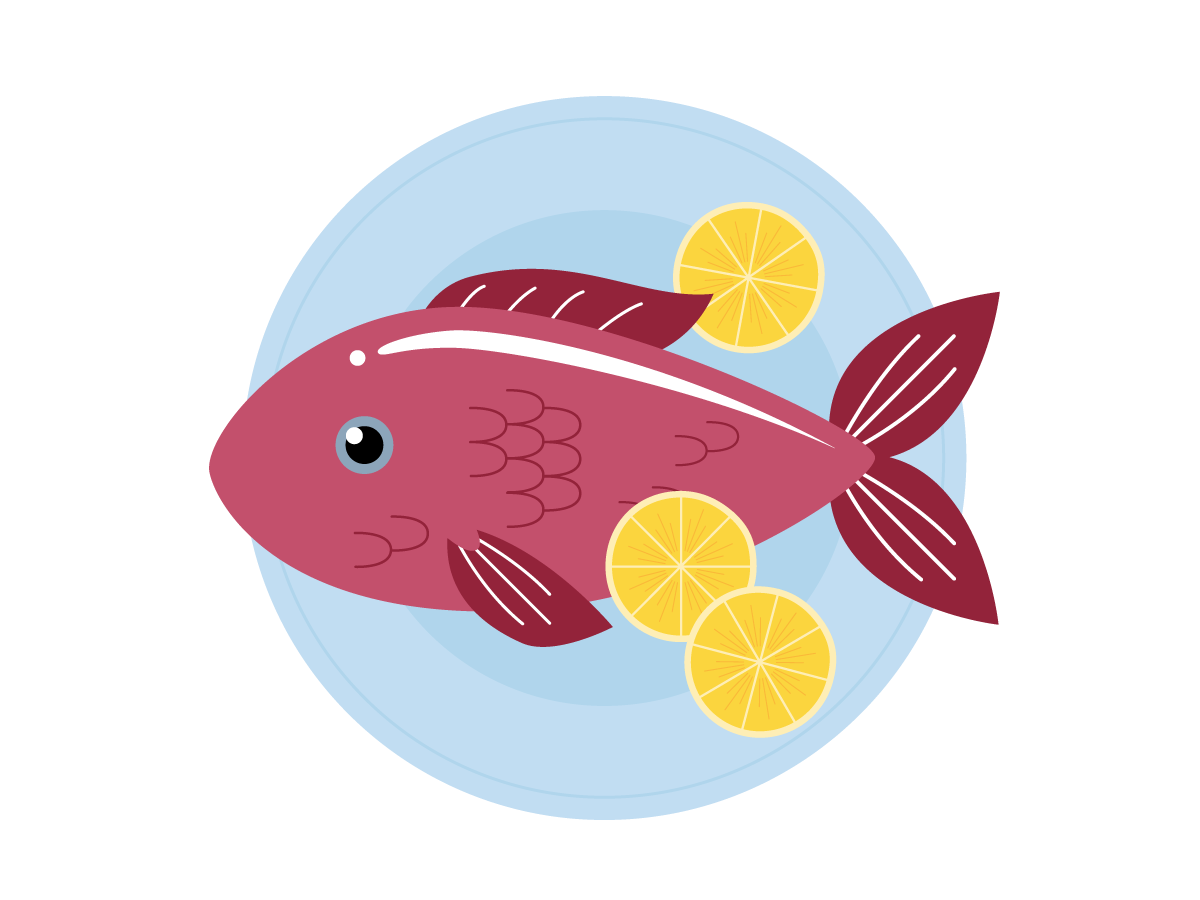 A plate with a fish.